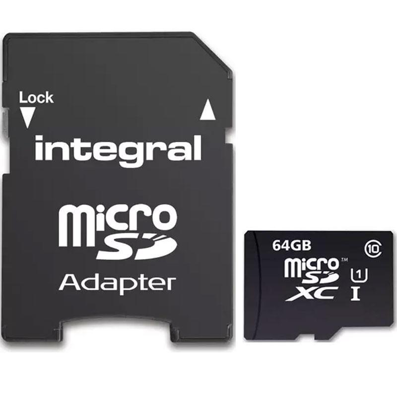 Integral 64GB Micro SD Card (SDXC) UHS-I U1 + Adapter - 90MB/s