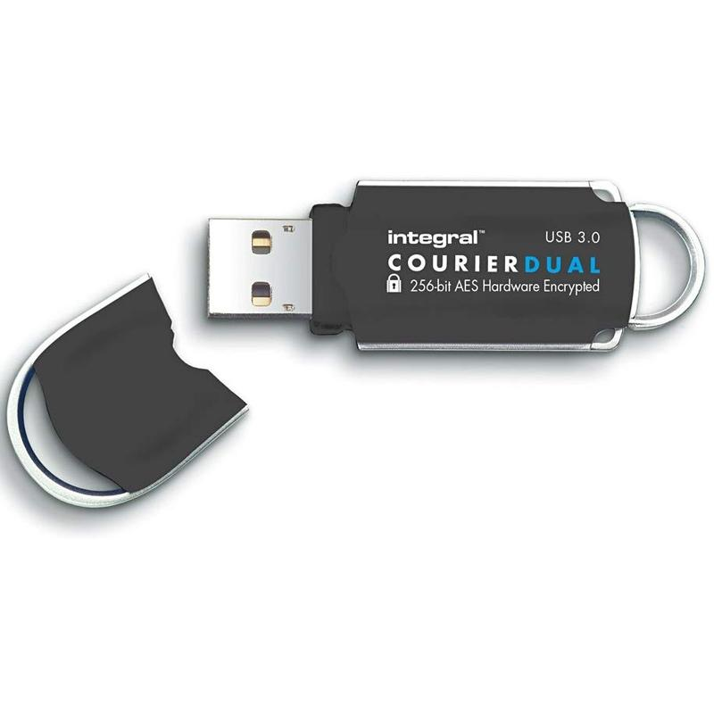 Integral 64GB Courier Dual FIPS 197 Encrypted USB 3.0 Flash Drive - 145MB/s