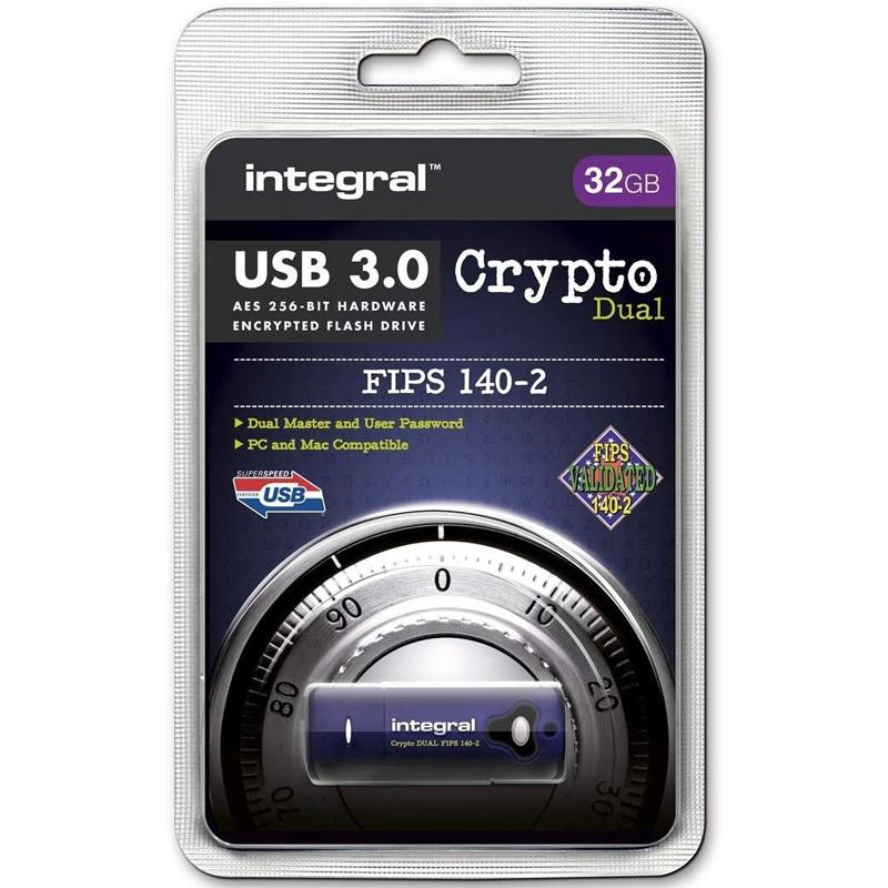 Integral 32GB Crypto Dual FIPS 140-2 Encrypted USB 3.0 Flash Drive - 145MB/s