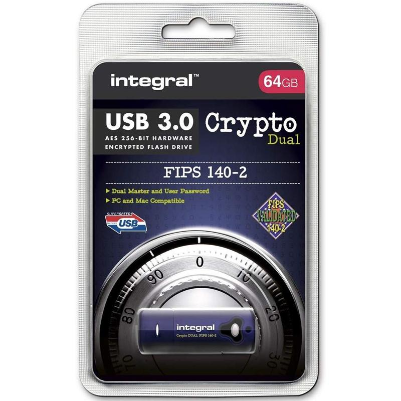 Integral 64GB Crypto Dual FIPS 140-2 Encrypted USB 3.0 Flash Drive - 145MB/s