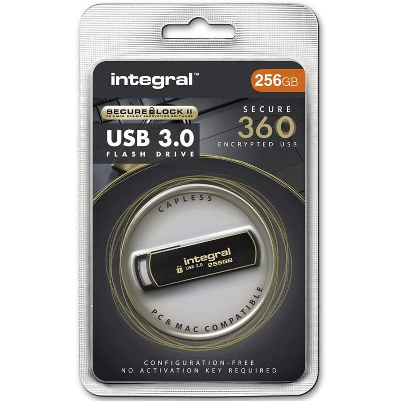 Integral 256GB Secure 360 Secure Lock II Encrypted USB 3.0 Flash Drive - 80MB/s