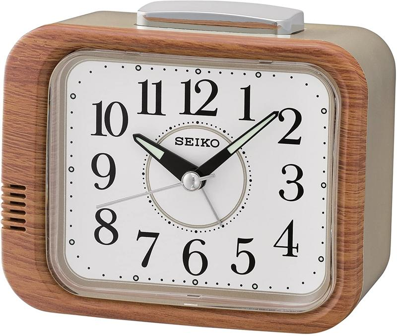 Seiko Bell Alarm Clock with Sweep Second Hand - Wood Finish