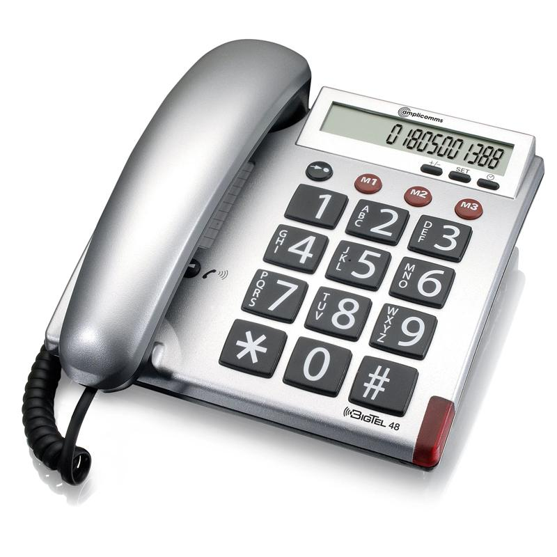 Amplicomms BigTel 48 Big Button Amplified Corded Telephone - Gunmetal