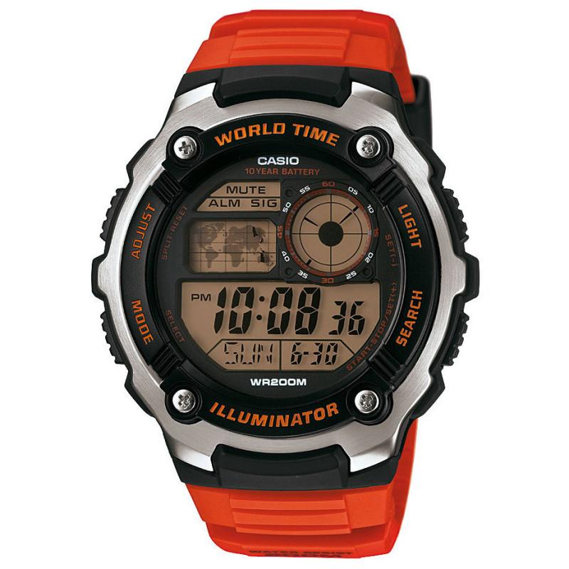 Casio World Time LCD Watch - Orange