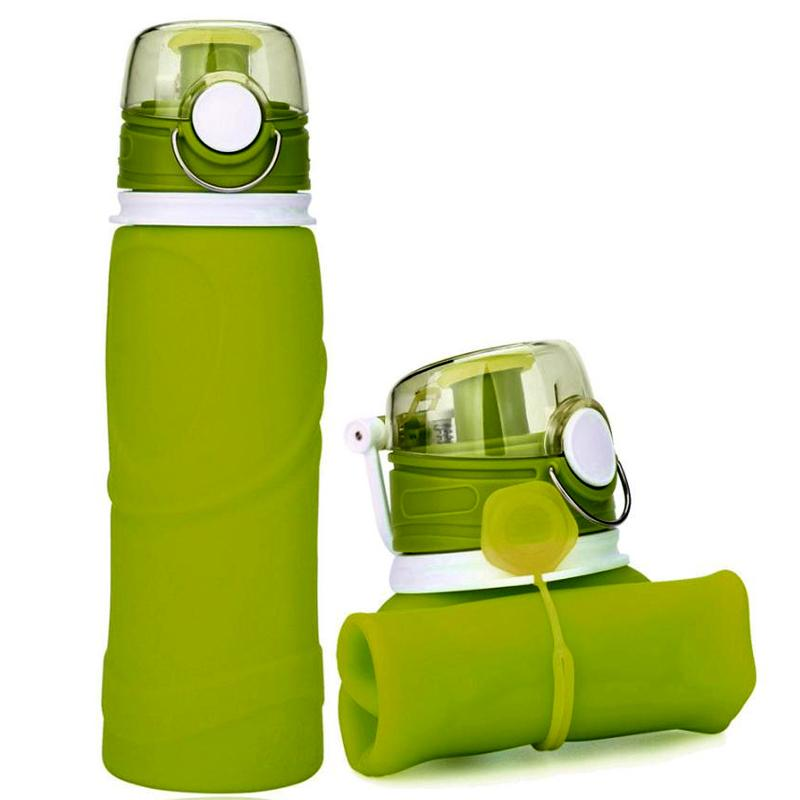 MyFriday Foldable Silicone Travel Water Bottle BPA Free 750ml - Green