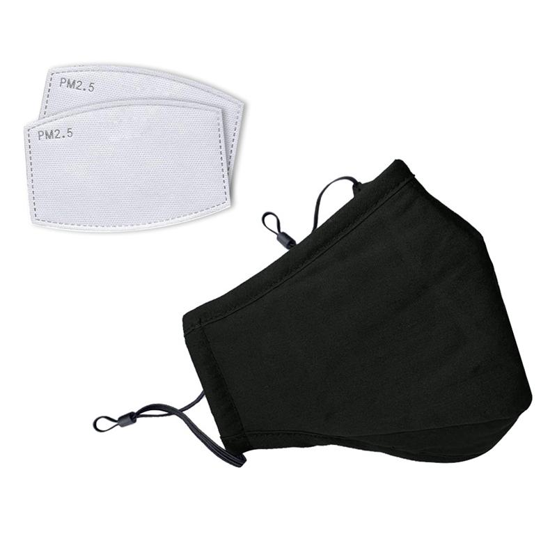 Washable Full Fabric Fashion Face Mask + 2 PM2.5 Filters - Black