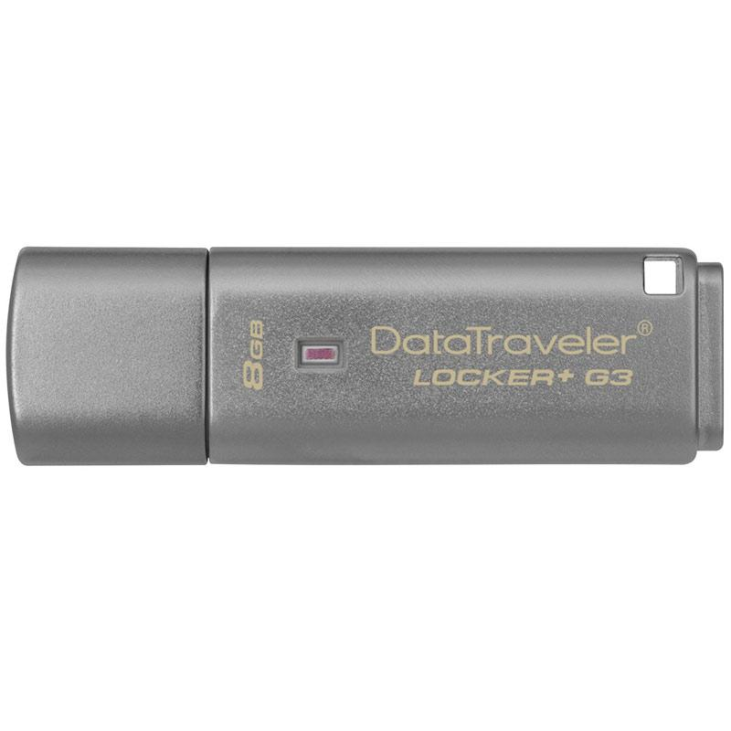 Kingston 8GB DataTraveler Locker+ G3 USB 3.0 Flash Drive - 80Mb/s - Cloud Back-Up