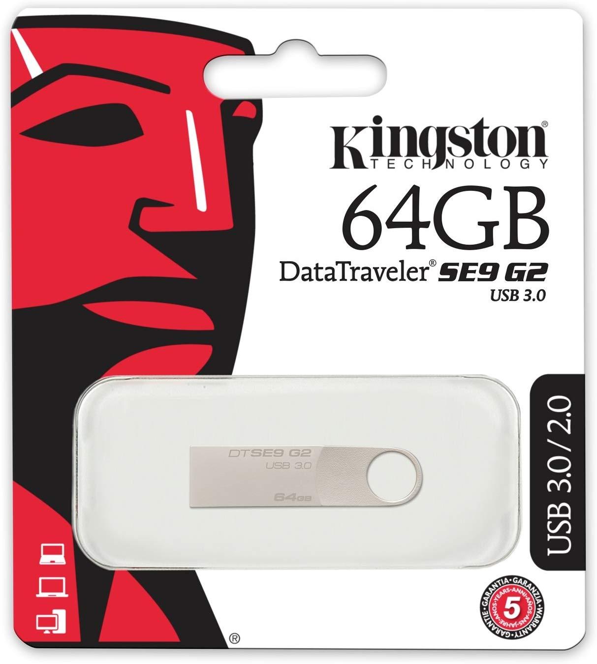Kingston 64GB DataTraveler SE9 G2 USB 3.0 Flash Drive - 100MB/s