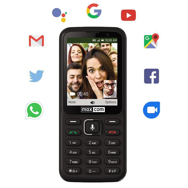 Maxcom 4G Unlocked SIM Free Smart Feature Mobile Phone - Black (MK241)