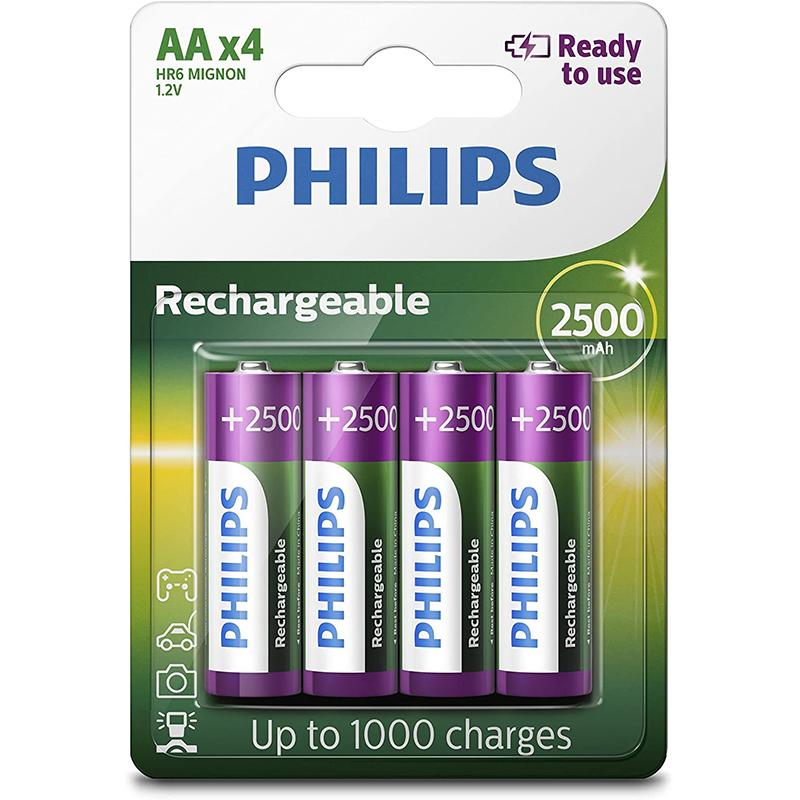 Philips 2500 mAh AA Rechargeable Batteries - 4 Pack