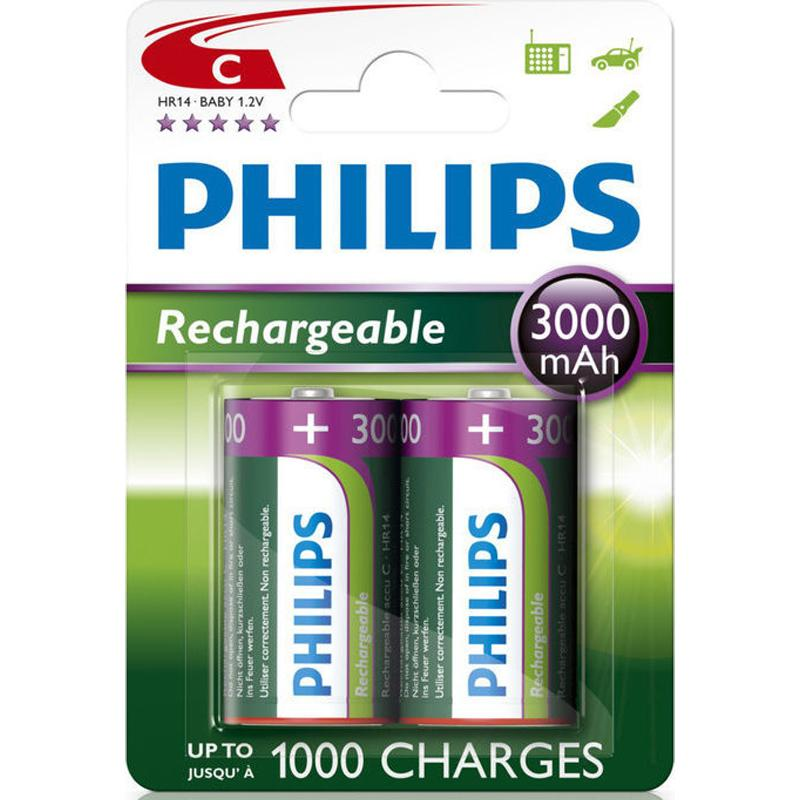 Philips 3000 mAh C Size Rechargeable Batteries - 2 Pack