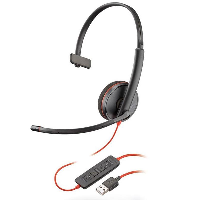 Plantronics Blackwire C3210 PC Headset Mono Mic USB Corded - Black