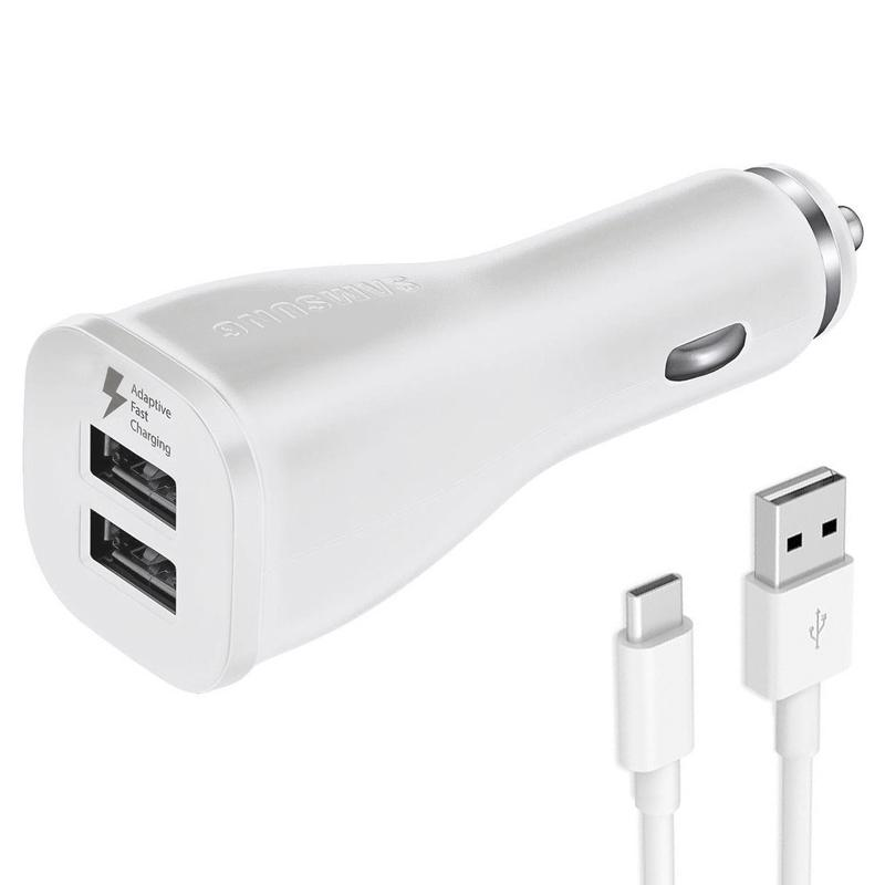 Samsung 2A Dual USB Fast Charge Car Charger + USB-C Cable - White FFP