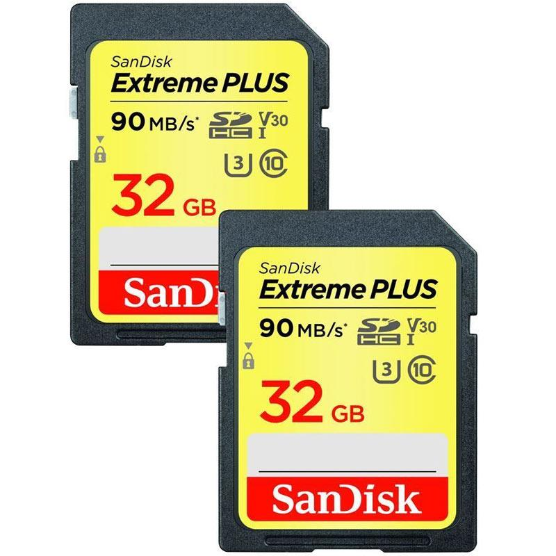 SanDisk 32GB Extreme Plus SDHC Card UHS-I U3 90MB/s - Twin Pack