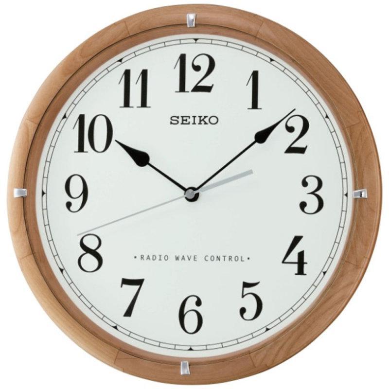 Seiko Radio Controlled Wooden Wall Clock - Light Brown