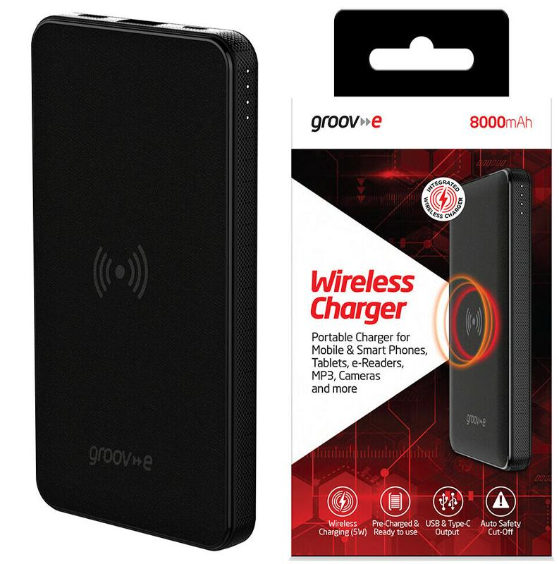 Groov-e Portable 5W Wireless Charger 8000mAh USB Universal Powerbank - Black