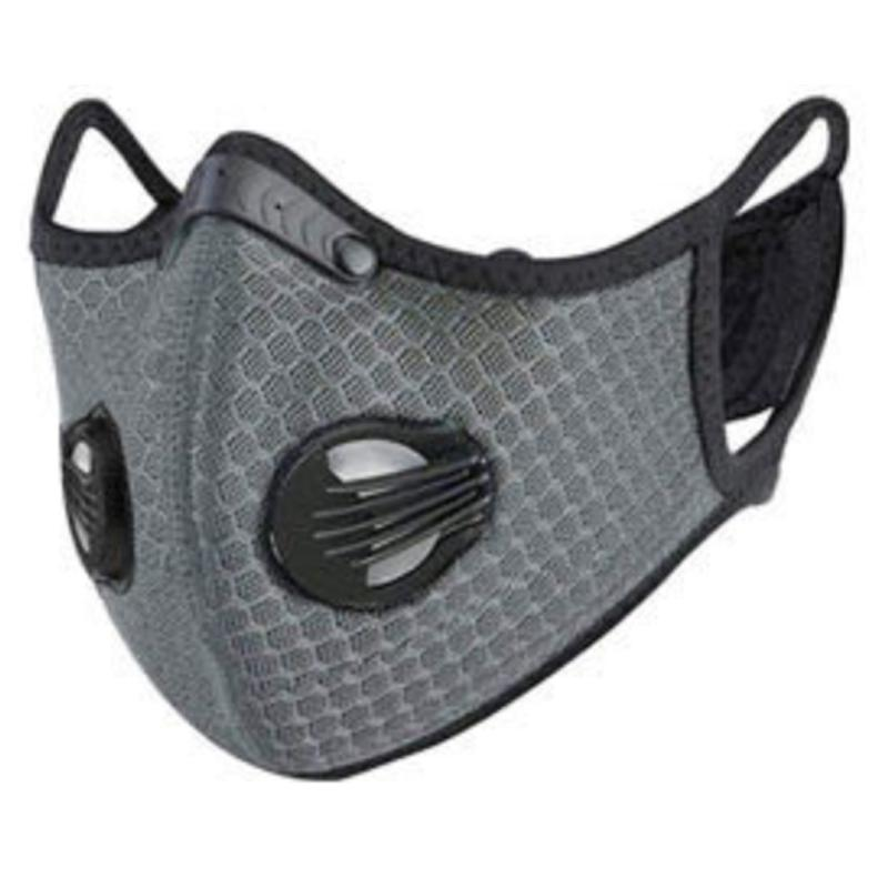 Washable Fashion Face Mask - Double Air Valves with PM2.5-F5 Filter - Sky Grey