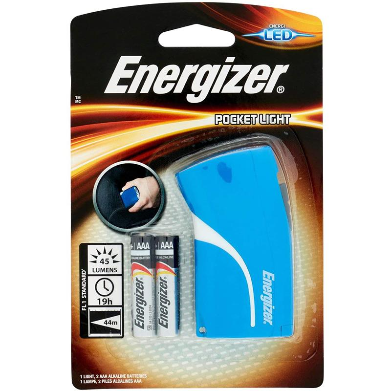 Energizer Pocket LED Torch + 3x AAA Batteries - Blue