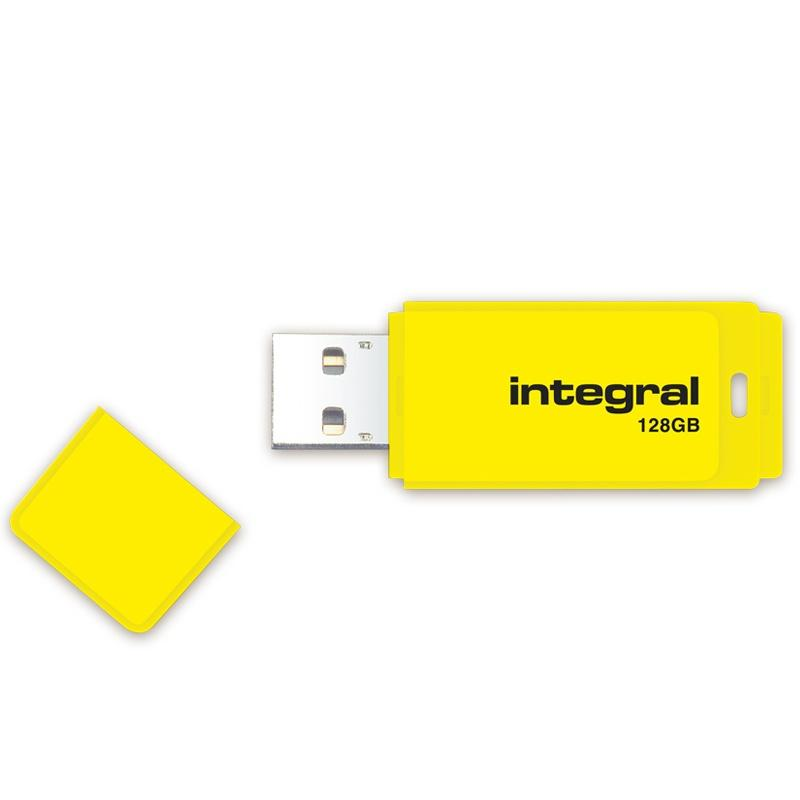 Integral 128GB Neon USB Flash Drive - 12MB/s - Yellow