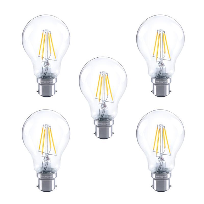 Integral GLS LED Classic Full Glass Bulb B22 4.5W (40W) 2700K Dimmable Lamp - 5 Pack