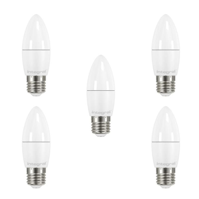 Integral LED Candle B22 5.5W (40W) 2700K Non-Dimmable Frosted Lamp - 5 Pack