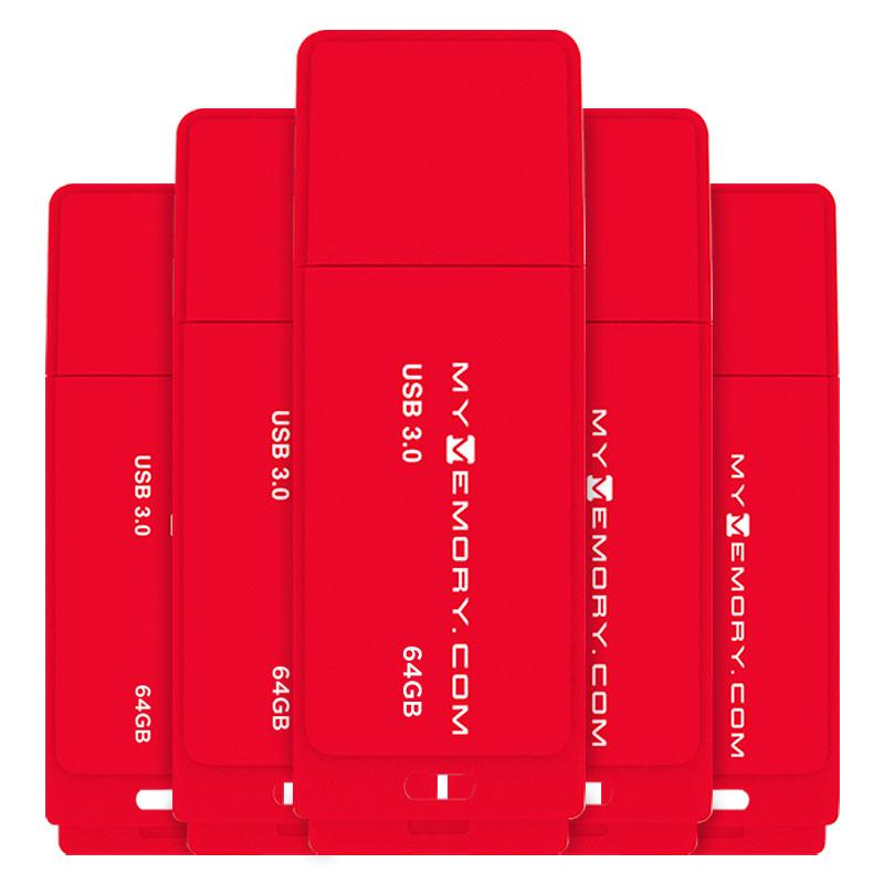 MyMemory 64GB USB 3.0 Flash Drive - 80MB/s - Red - 5 Pack