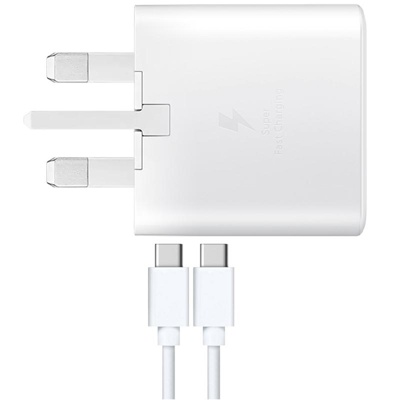 Samsung Galaxy 25W 3A USB-C Fast Charging Adaptor + USB-C to USB-C Cable - White