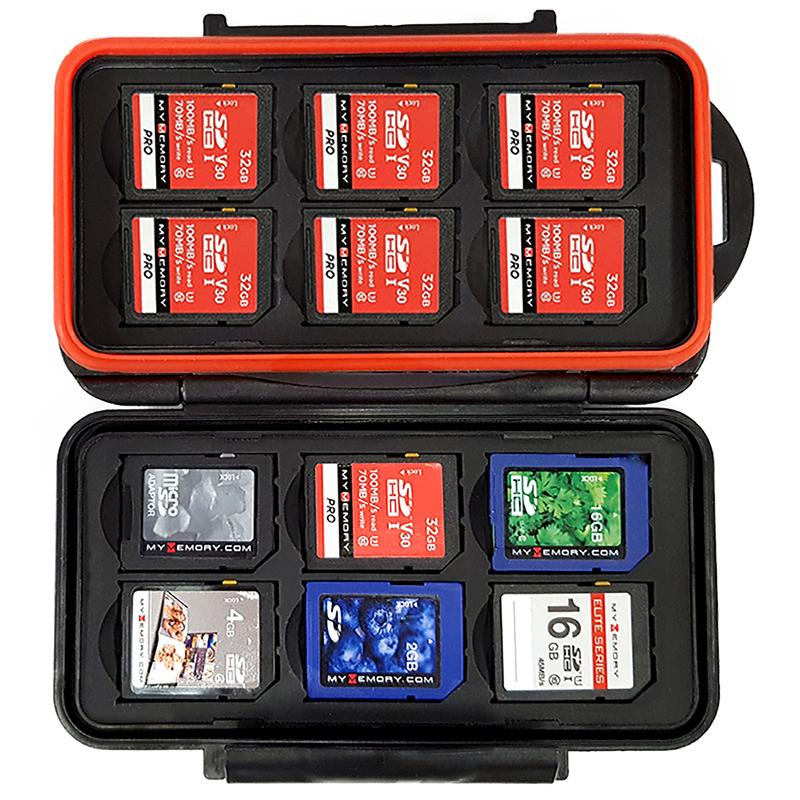 MyMemory SD Memory Card Case Rugged Water-Resistant Carrying Holder - Black