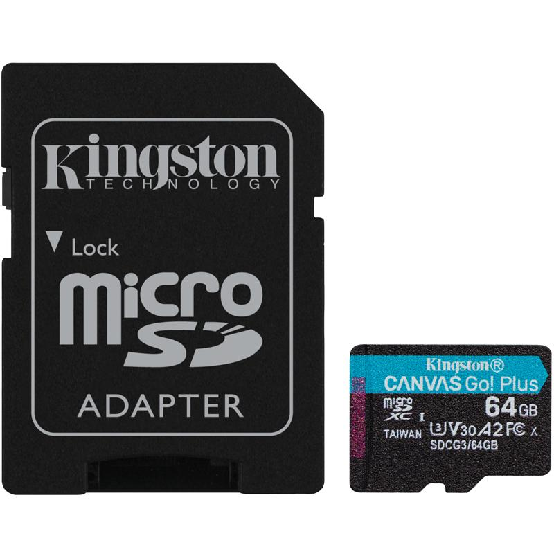 Kingston 64GB Canvas Go Plus Micro SD Card (SDXC) UHS-I U3 V30 A2 + Adapter - 170MB/s