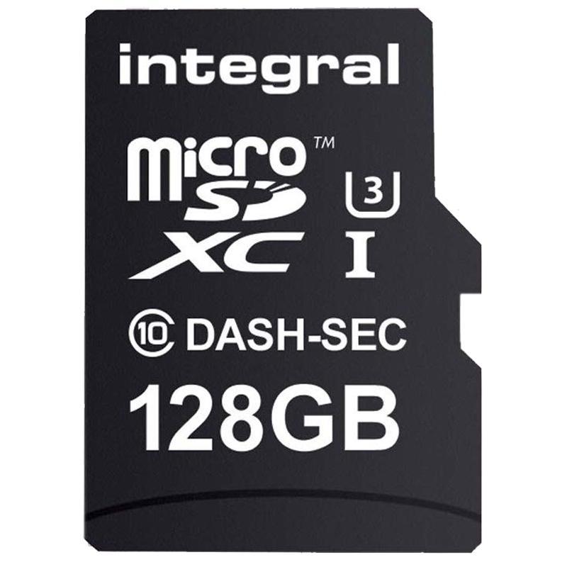 Integral 128GB Dash Cam Micro SD Card SDXC Class 10 UHS-I U3 + Adaptor