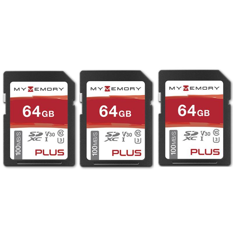 MyMemory PLUS 64GB V30 High Speed SD Card (SDXC) UHS-1 U3 - 100MB/s - 3 PACK