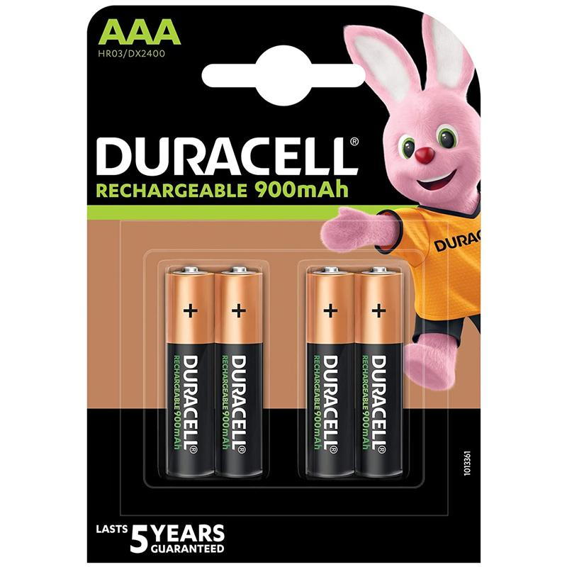 Duracell HR03 900mAh AAA Rechargeable Batteries - 4 Pack
