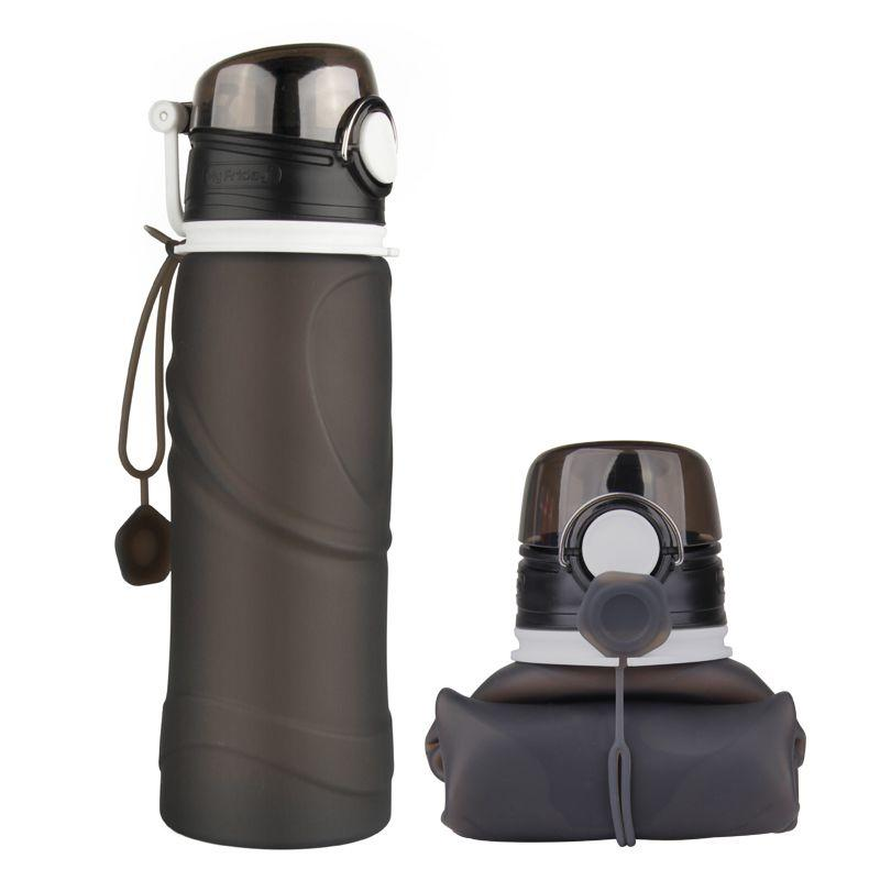 MyFriday Foldable Silicone Travel Water Bottle BPA Free 750ml - Black