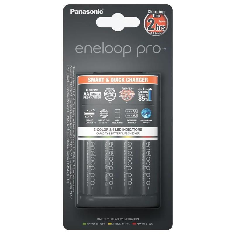 Panasonic Eneloop Quick Charger + 4 AA x 2500 mAh Rechargeable Batteries