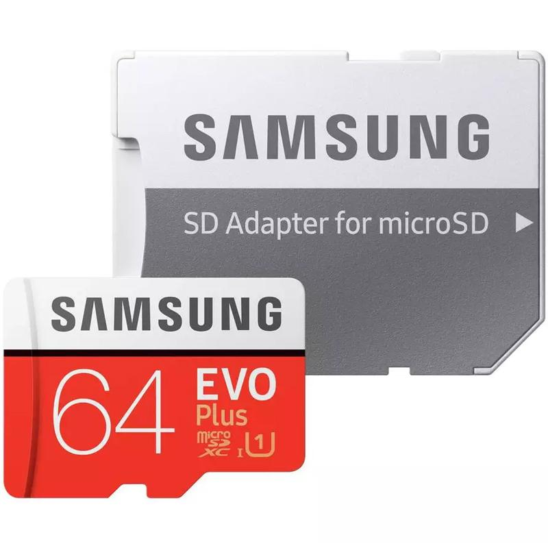 Samsung 64GB Evo Plus Micro SD Card (SDXC) UHS-I U1 + Adapter - 100MB/s