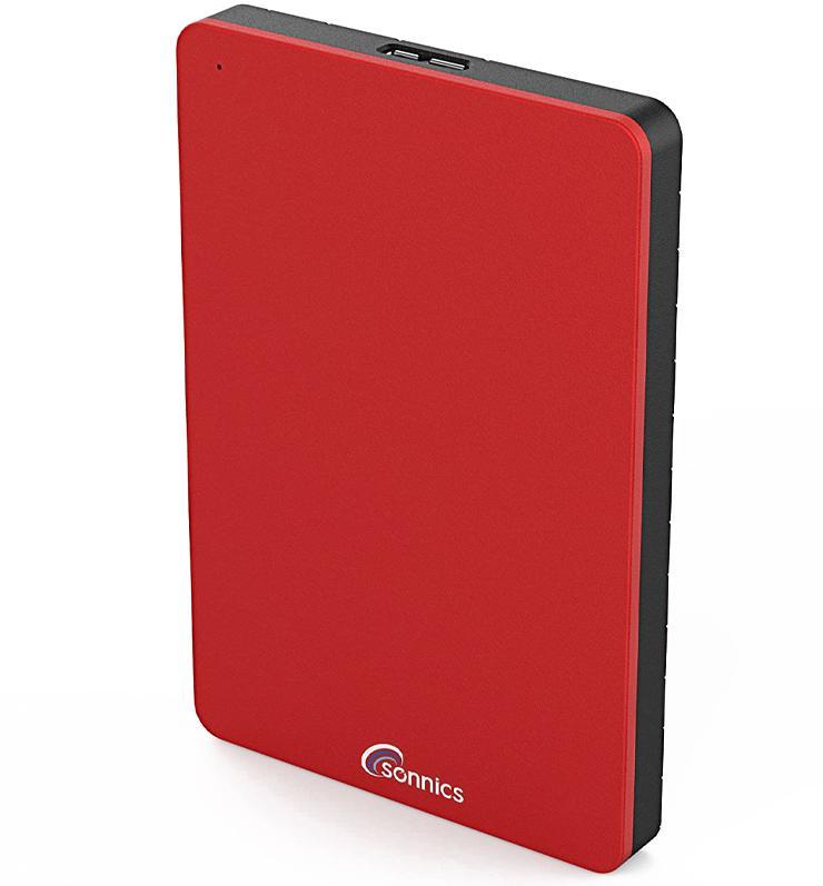 Sonnics 250GB External Portable Hard Drive USB 3.0 - Red