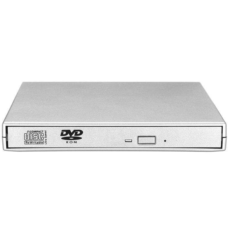 Ultra Slim External Portable USB 2.0 CD/DVD Writer Player - Silver