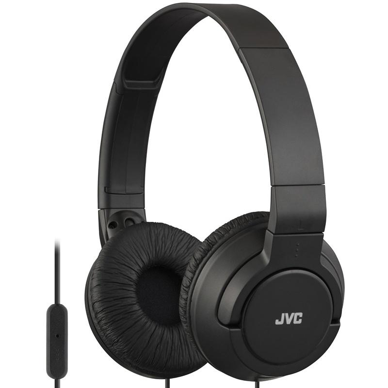 JVC Lightweight Powerful Bass Headphones with Remote and Microphone - Black (HASR185)