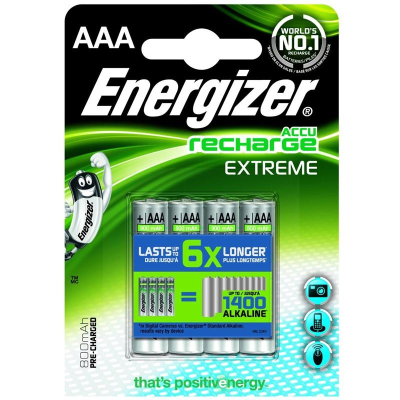 Energizer Accu 800mAh AAA Rechargeable Batteries - 4 Pack