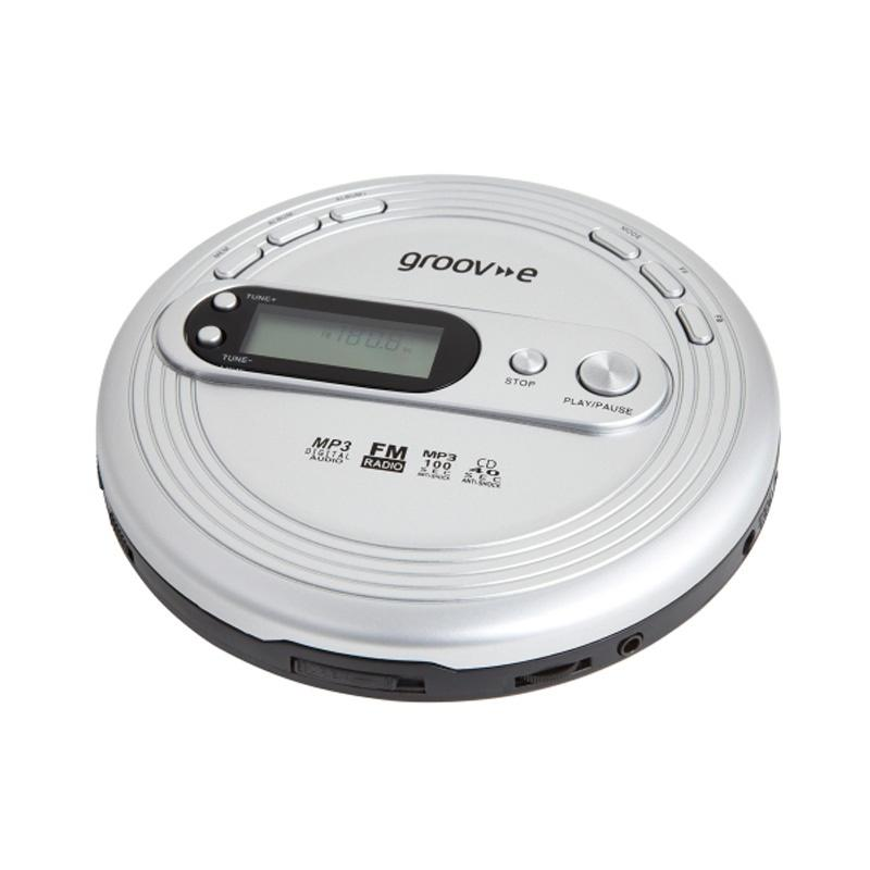 Groov-e Retro Series Personal CD Player with Radio - Silver