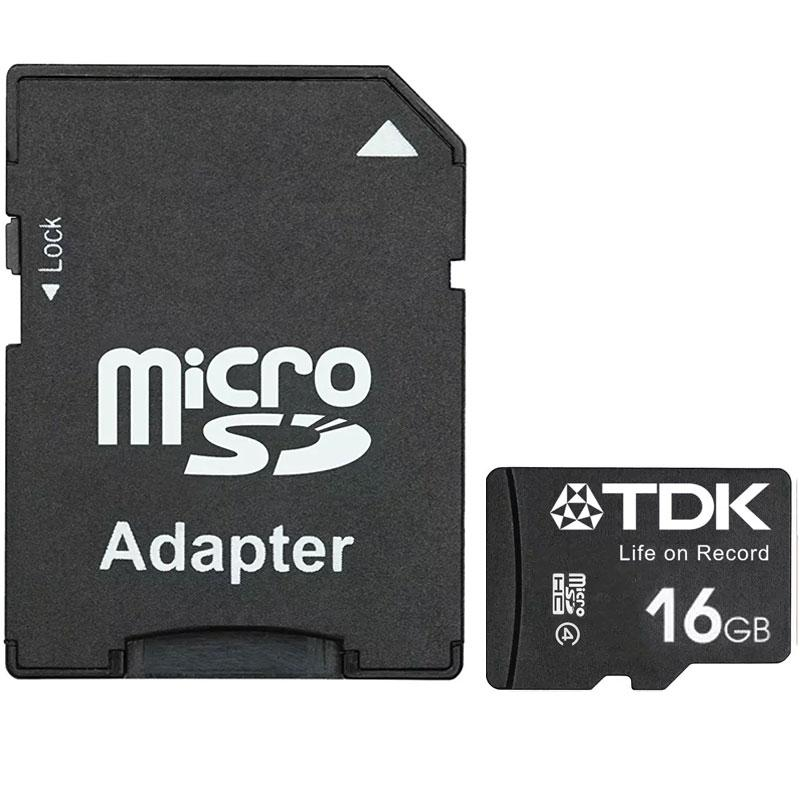 TDK 16GB Micro SD Karte (SDHC) + Adapter - 30MB/s