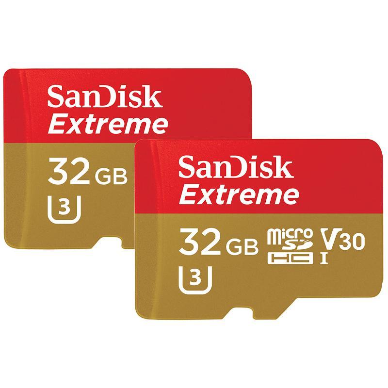 SanDisk 32GB Extreme V30 Action Camera Micro SD Karte  (SDHC) UHS-I U3 - 100MB/s - 2er Pack