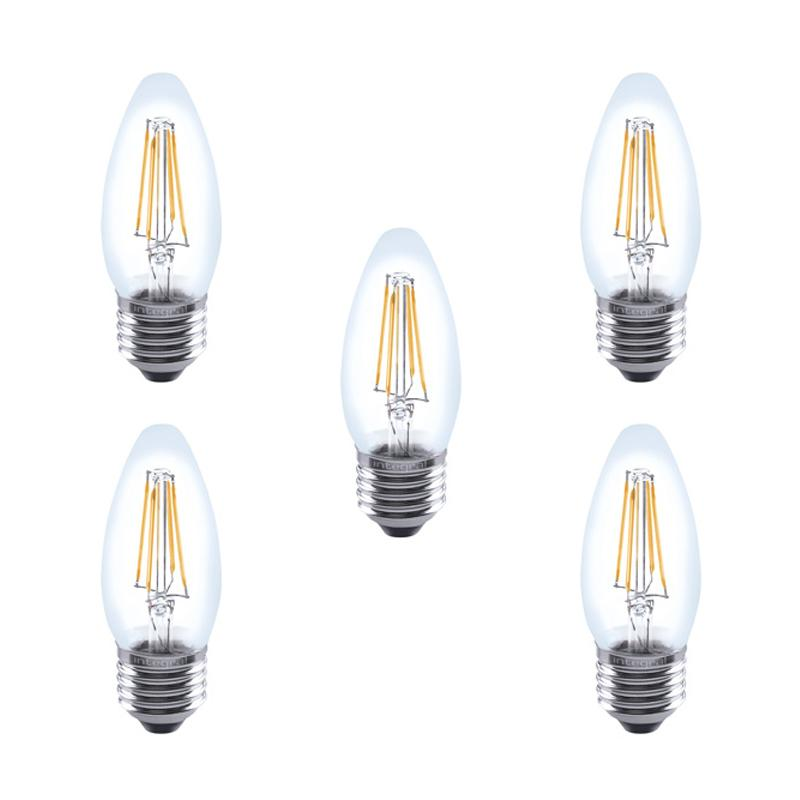 Integral LED Vollglaskerzenlampe E27 4.5W (40W) 2700K Dimmbare Lampe - 5er Pack