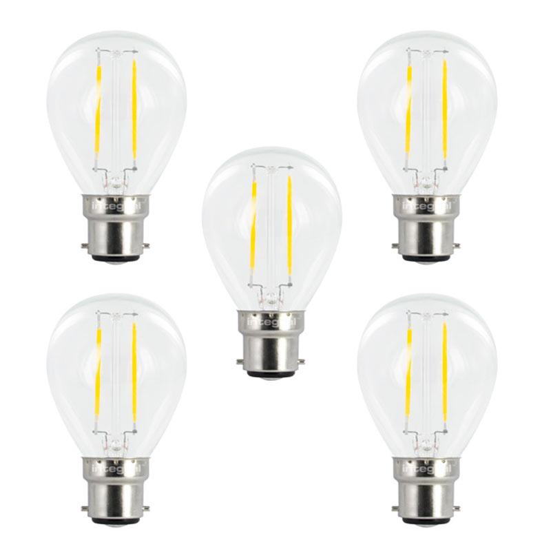 Integral LED Mini Globus aus Glaskolben B22 2W (25W) 2700K Nicht-Dimmbare Lampe - 5er Pack