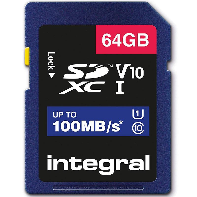 Integral 64GB High Speed SD Karte (SDXC) UHS-I U1 V10 - 100MB/s