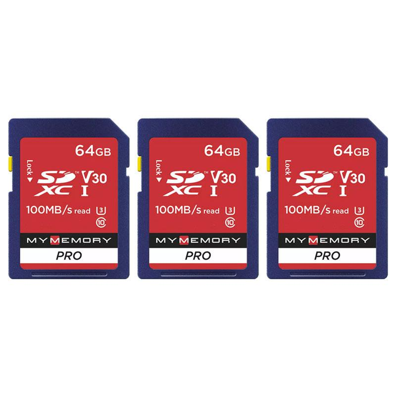 MyMemory 64GB V30 PRO SD Karte (SDXC) UHS-1 U3 - 3er Pack - 100MB/s