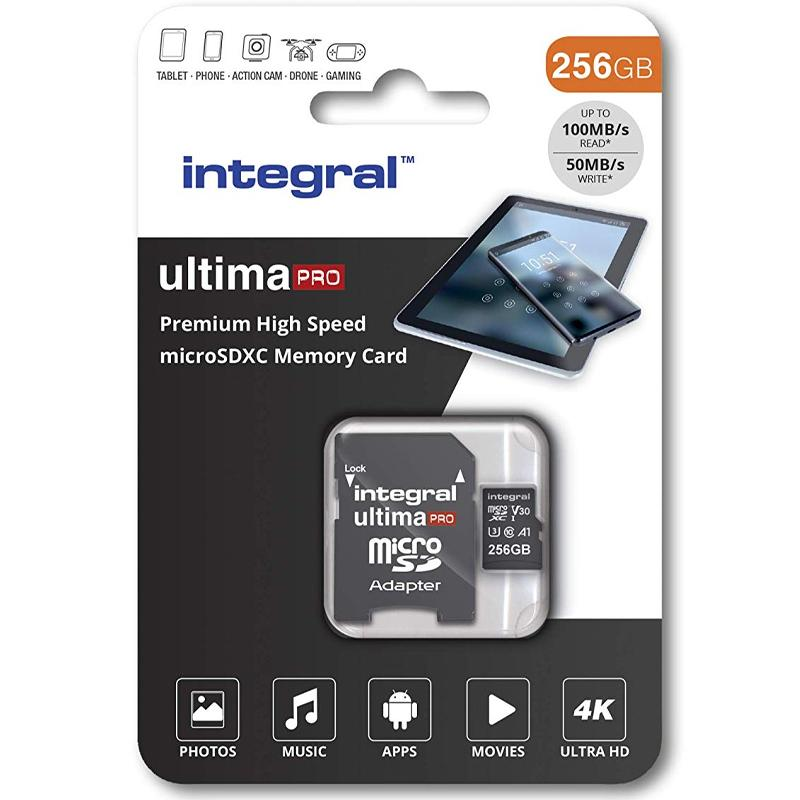 Integral 256GB UltimaPRO V30 Premium Micro SD Karte (SDXC) UHS-I U3 + Adapter
