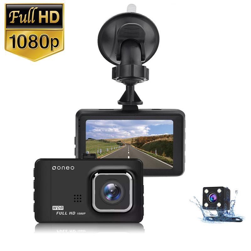 oneo Drive 1080p Car Dash Cam Dual Lens + Rückfahrkamera - Schwarz