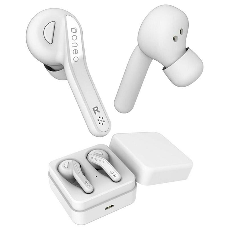 oneo TWS Bluetooth v5.0 kabellose Kopfhörer mit Ladetasche - Weiß