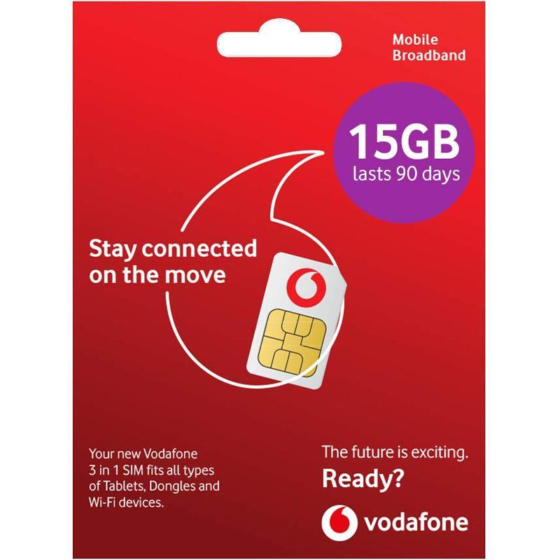 Vodaphone PAYG 4G Data SIM Pack with 15GB Data - 90 Days